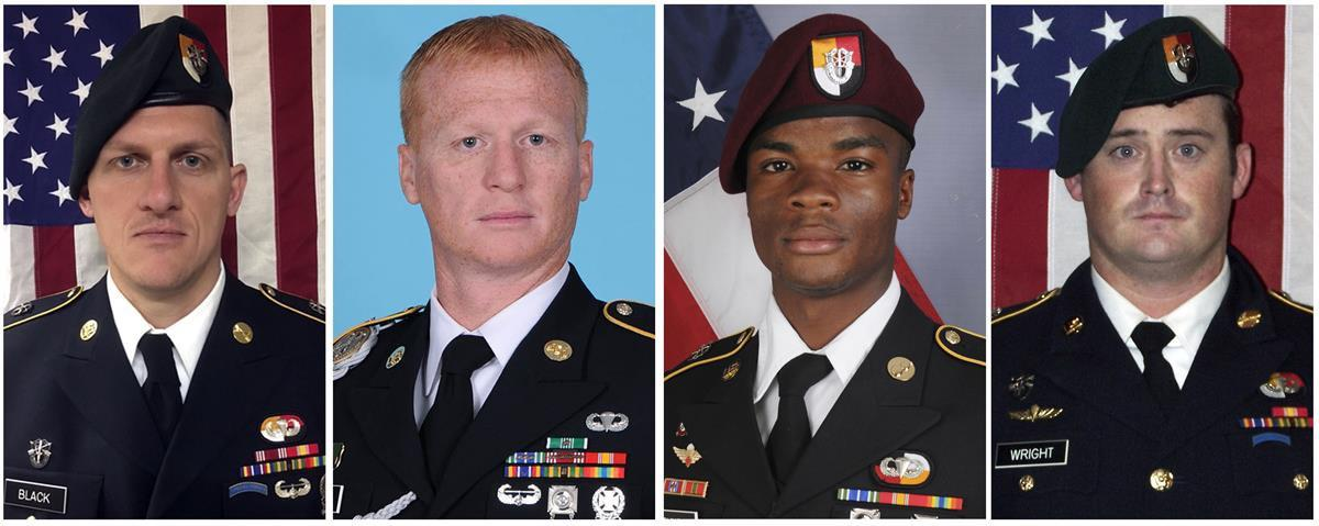 From left, Staff Sgt. Bryan C. Black, Staff Sgt. Jeremiah W. Johnson, Sgt. La David Johnson and Staff Sgt. Dustin M. Wright. CreditU.S. Army (AP)