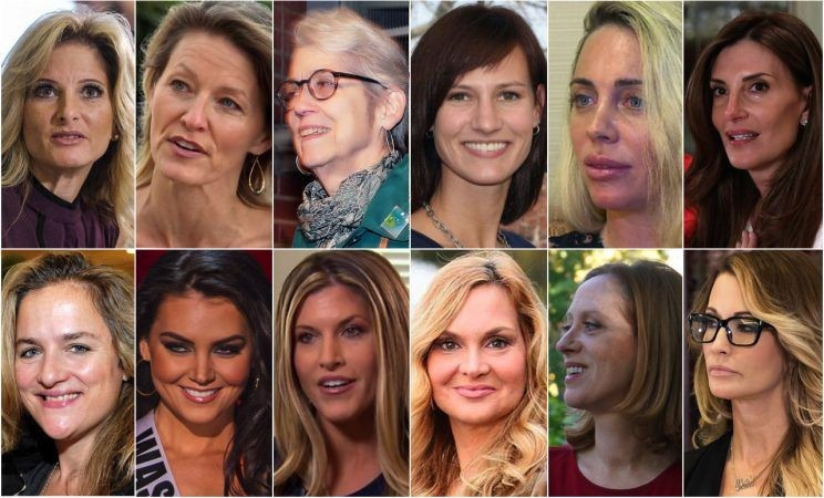 Trump's accusers, clockwise from top left: Summer Zervos, Kristin Anderson, Jessica Leeds, Rachel Crooks, Mindy McGillivray, Karena Virginia, Jessica Drake, Cathy Heller, Jill Harth, Temple Taggart McDowell, Cassandra Searles, Natasha Stoynoff. (Photos: Ringo H.W. Chiu/AP, ABC News, Julie Jacobson/AP, Linkedin, AP Video, Richard Drew/AP, Jonathon Ziegler/Patrick McMullan via Getty Images, Michael Stewart/WireImage/Getty Images, NBC, Twitter, Molly Redden/The Guardian, Ronen Tivony/NurPhoto via Getty Images)