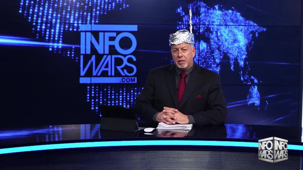 Fake News Anchor wears tin foil hat while spreading conspiracy theories
