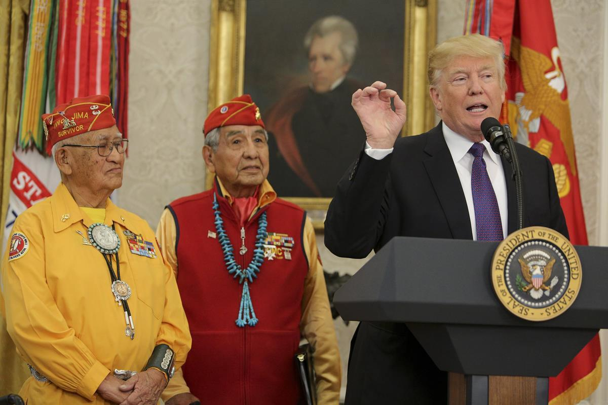 With a portrait of President Andrew Jackson hanging in the background, President Donald Trump speaks during a meeting with Navajo Code Talkers — Monday, Nov. 27, 2017. (Oliver Contreras-Pool/Getty Images)