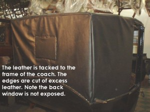 The leather is tacked