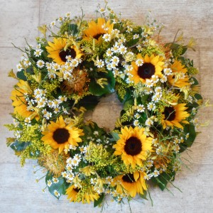 sunflowers funeral standing