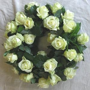 Ecuadorian White Roses Wreath Sympathy