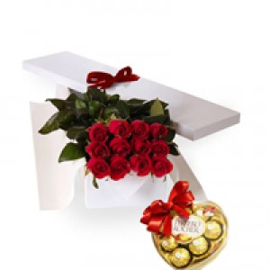12 Red Roses in a Box with Ferrero Chocolates