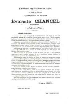 1876-02-25 - Evariste Chancel est candidat au 2ème tour des élections législatives de 1876 - Collection Charles de Raphélis-Soissan
