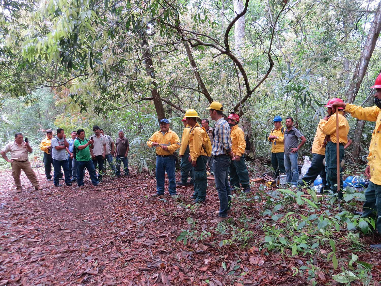 Tikal National Park staff preparing to manage forest fires.