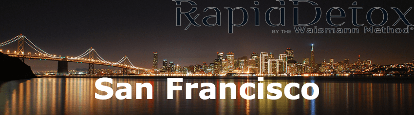 San Francisco bridge at night with San Francisco Rapid Detox Opioid Treatment words ontop