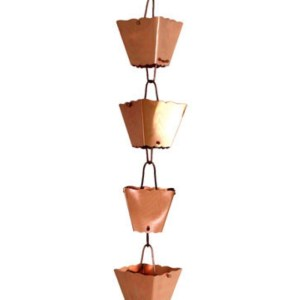 Copper Clad Stainless Steel Rain Chain Square Cup