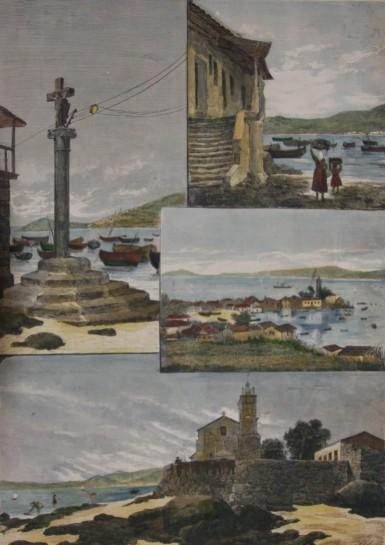 Grabado acuarealado de Bouzas de la segunda parte del Siglo XIX (Colección Seoane-Prado)