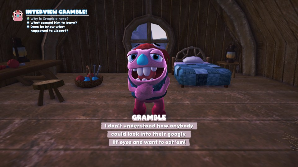 A look at gramble, a character in Bugsnax who loves the googly eyes!