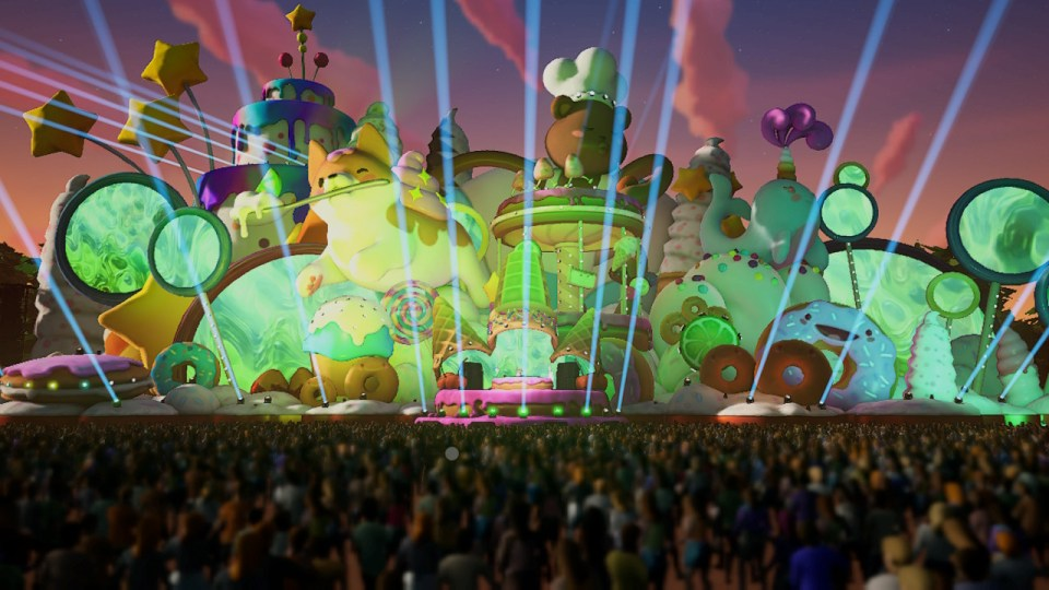 A look at a soundstage which features green donuts
