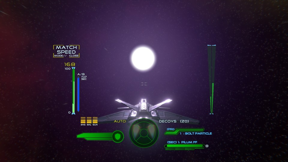 Third person view of your spaceship in Absolute Territory