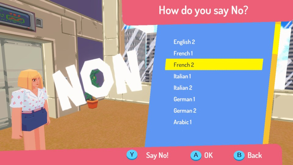 A menu including different languages and how you'll say 'no'