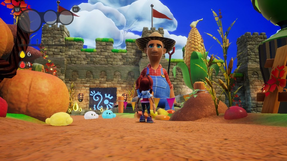 Emma looks towards a giant image of the Farmer in the first level.