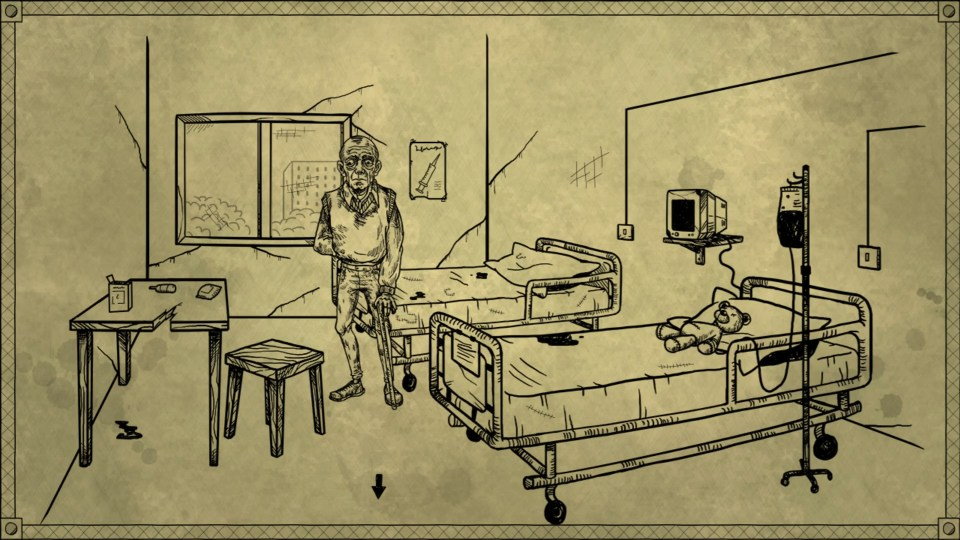 A hand drawn scene of an elderly man in a hospital room with two beds, and a teddy bear on one of them.