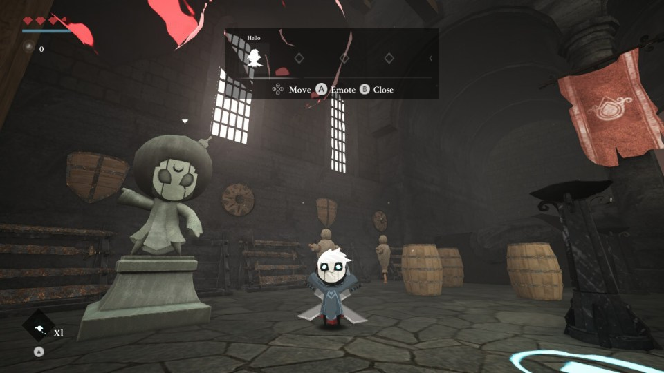 The playable character waves towards the player