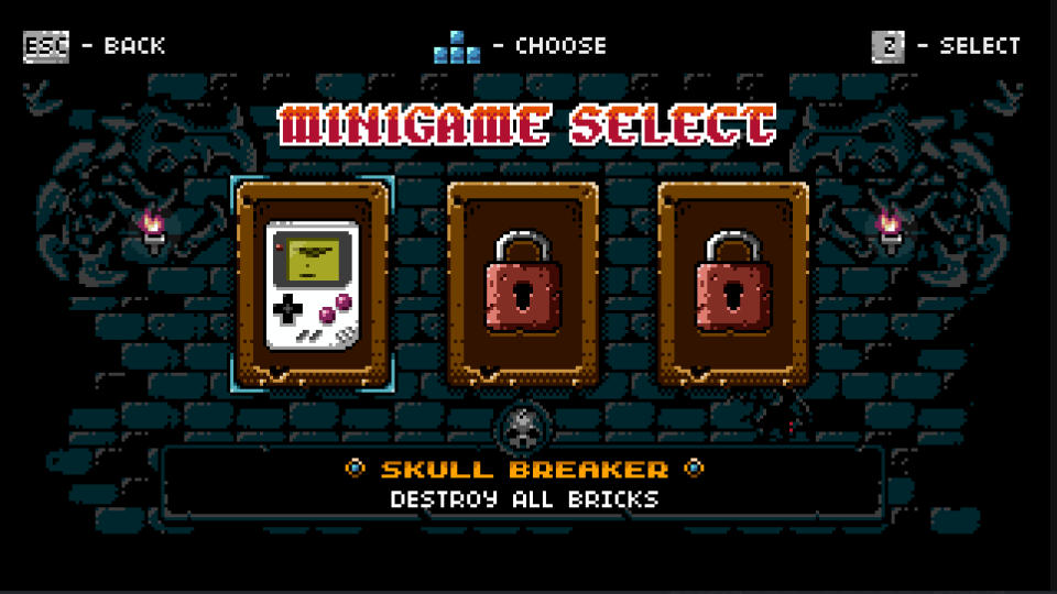 Minigame select screen in Jet Set Knights