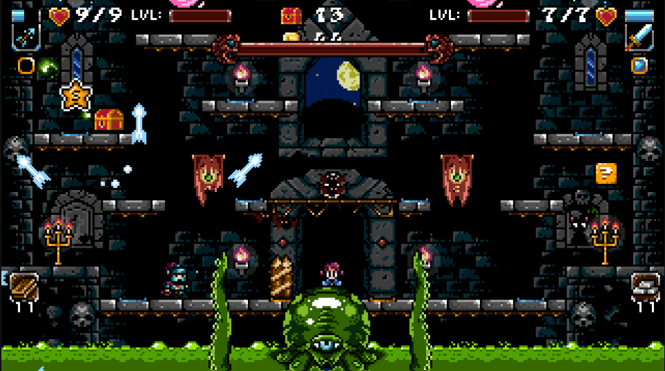 A stage featuring a green, squid like boss