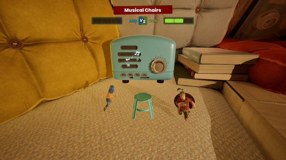 Two Dolls dancing around a chair
