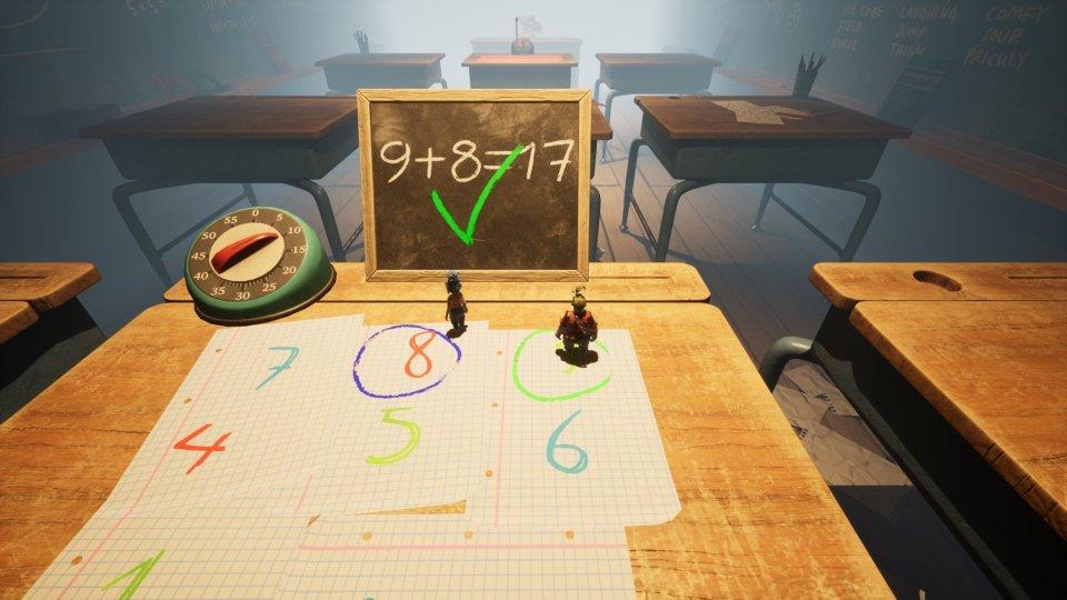 """A classroom """"9 + 8 = 17"""""""