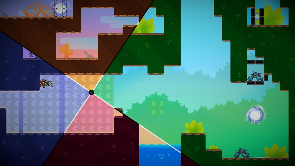 The 2d world is now split in four, showing varying platforms.