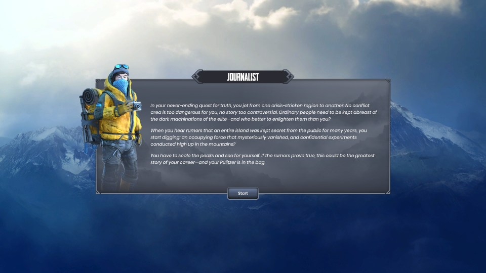 A character card is shown for the Journalist which details their backstory and motivations for climbing the mountains.