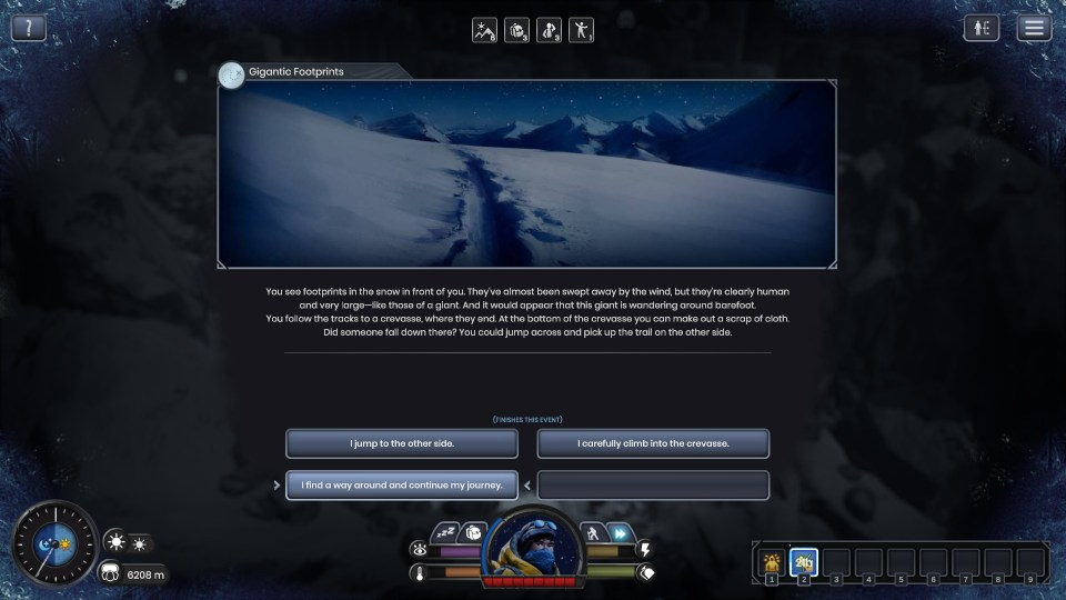 A menu is displayed describing a small story event. The player is presented with three choices regarding how they respond to the situation.