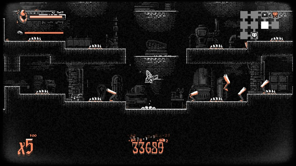 Many leg shaped enemies surround the player, armed with a pistol and wearing a skull.