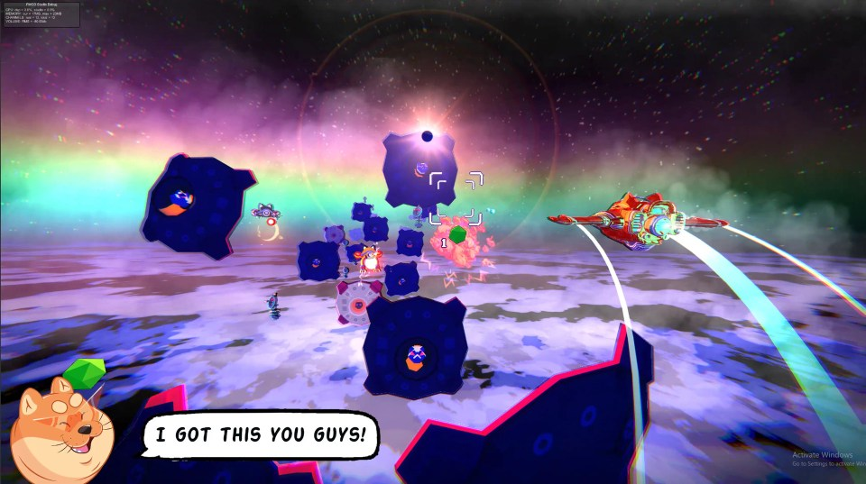 The Red Paw ship of the Astrodogs flying through space above a planet, avoiding various enemies.  Astrodogs PC Review Rapid Reviews UK