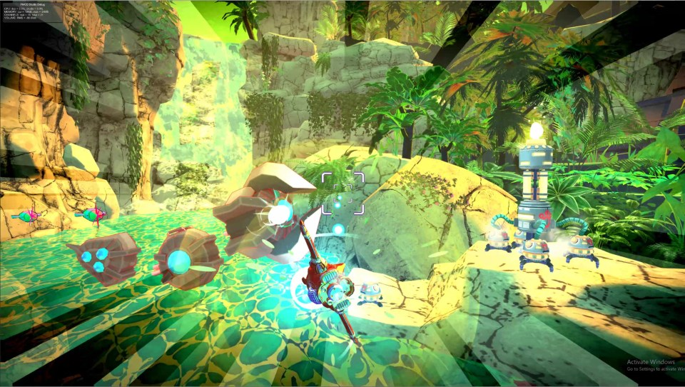 The Red Paw ship of the Astrodogs flying through a dense jungle with enemies bearing down on it.  Astrodogs PC Review Rapid Reviews UK