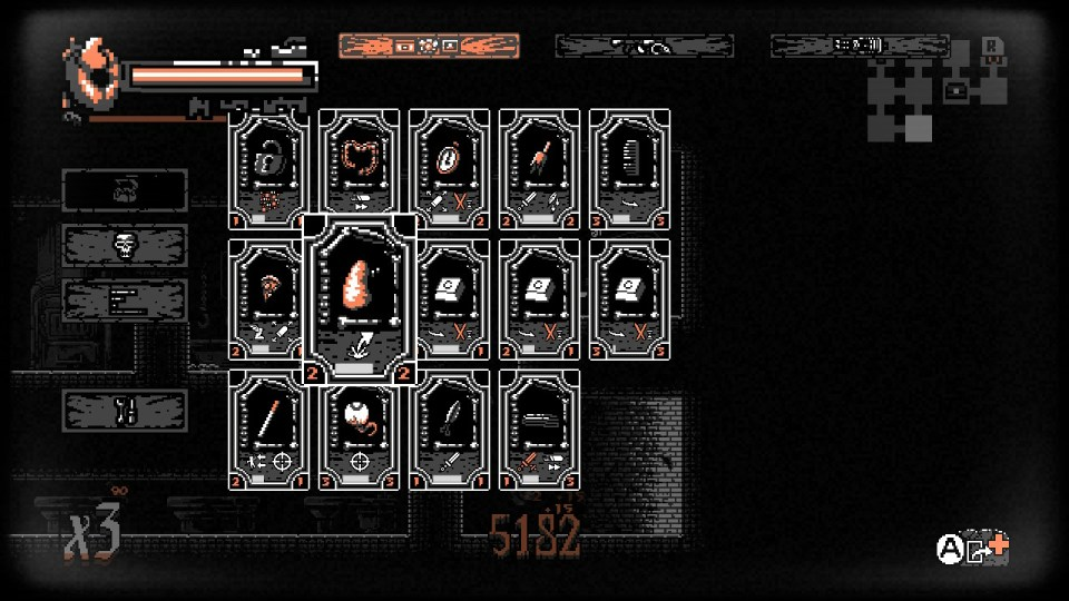 A display of various cards featured in the game. There are locks, intestines, and keyboard pieces.