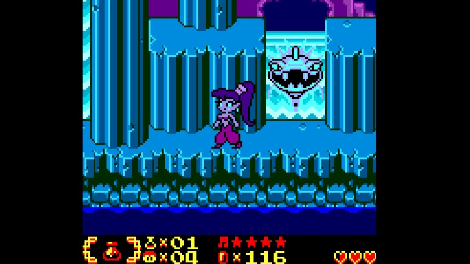 Shantae in a blue themed waterfall area