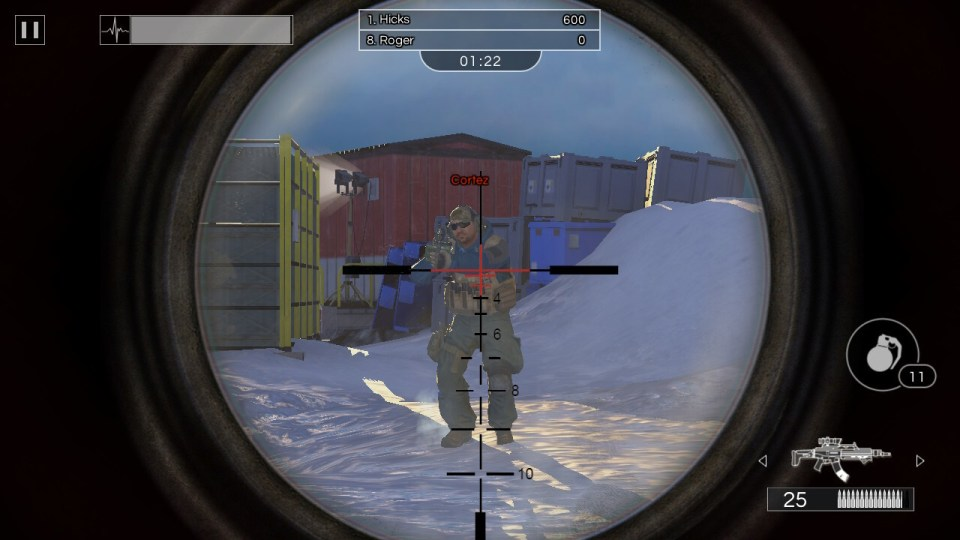 A gun scope with a camouflaged soldier standing in a snowy environment