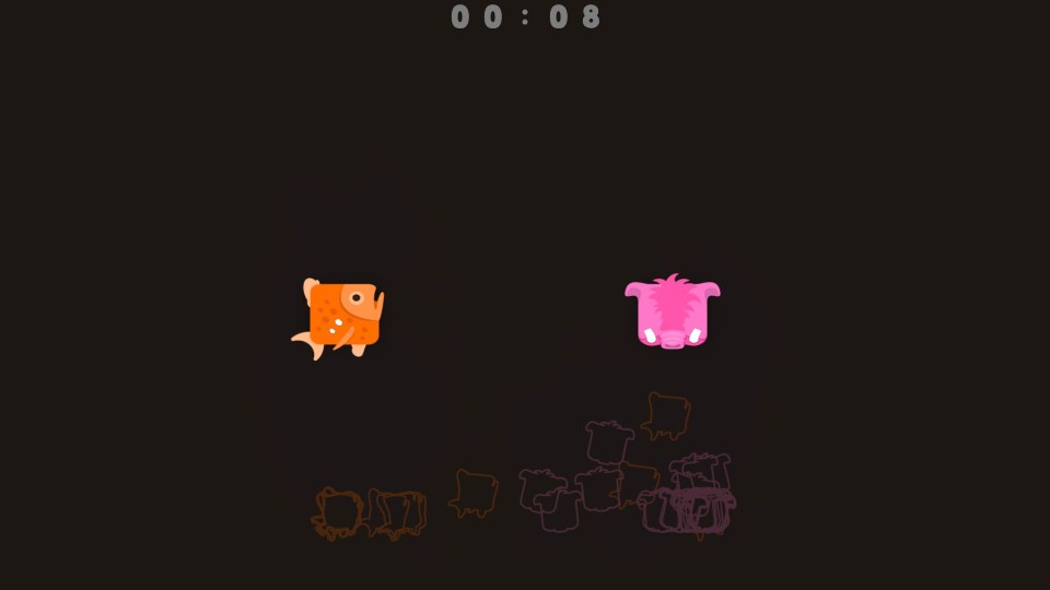 A fish and pig spitling are pictured in the centre of an empty screen.