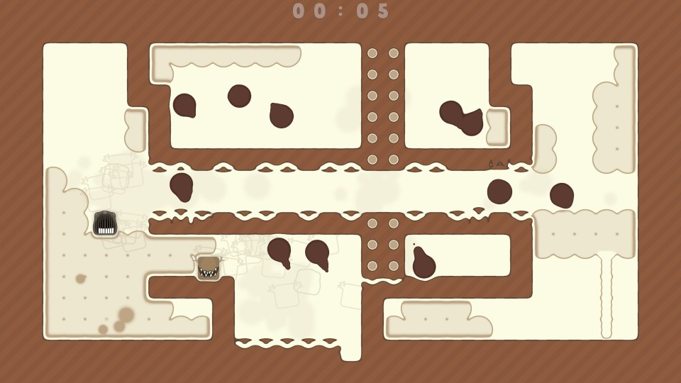 Two spitlings on the left of a brown level with several dark blob enemies in the middle and right.