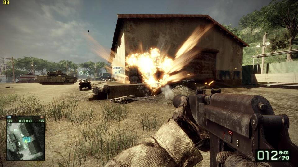 A gun fires at a house causing an explosion