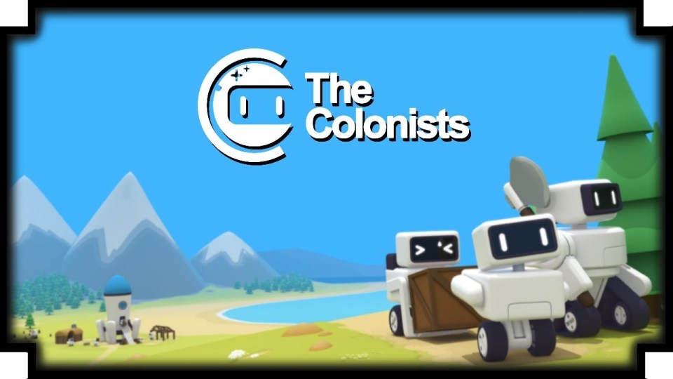 """TEXT """"The Colonists""""  Robots in a low-poly environment"""