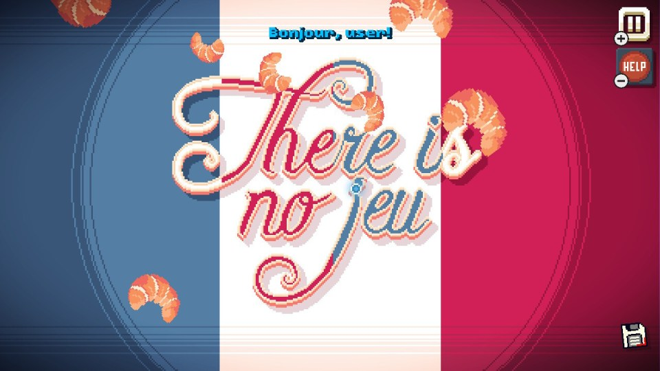 """A French flag with falling croisants and Text: """"There is no jeu"""""""