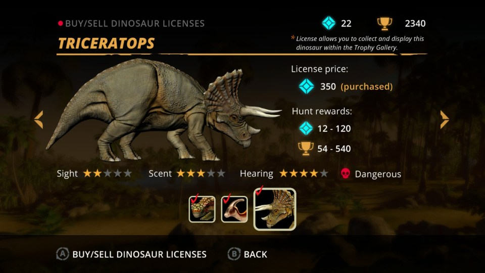 A triceratops dinosaur license in the game Carnivores: Dinosaur Hunt
