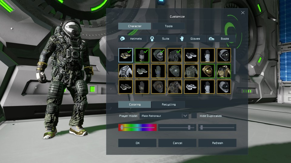 An astronaut stands in place in a room. A customisation menu is beside them, presenting multiple cosmetic items and colours.