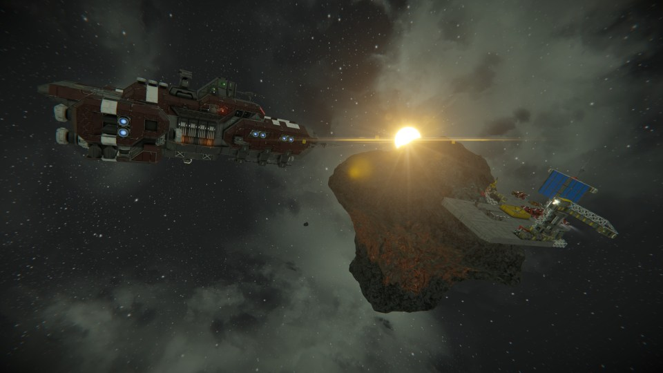 A large spaceship heads towards a small shipyard built into a small asteroid.