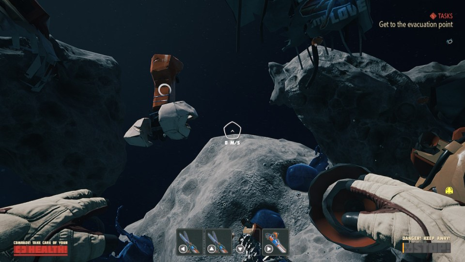 Asteroids floating with the void of space behind