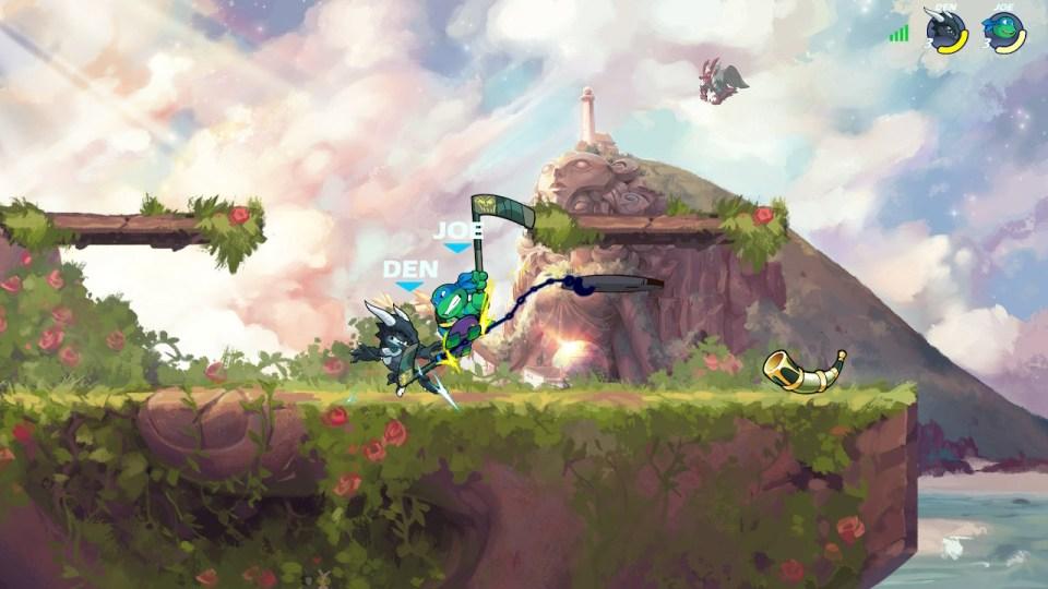 Leonardo attacking Ragnir with his scythe.
