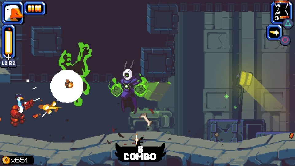 Mighty goose is on the left firing rockets at an enemy with glowing green fists.