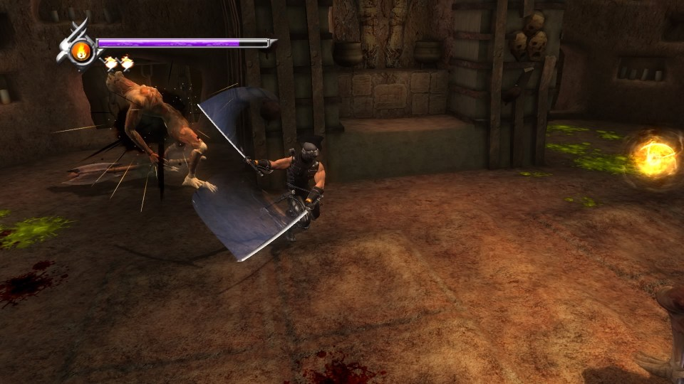 Ryu slashing an enemy with dual katanas.