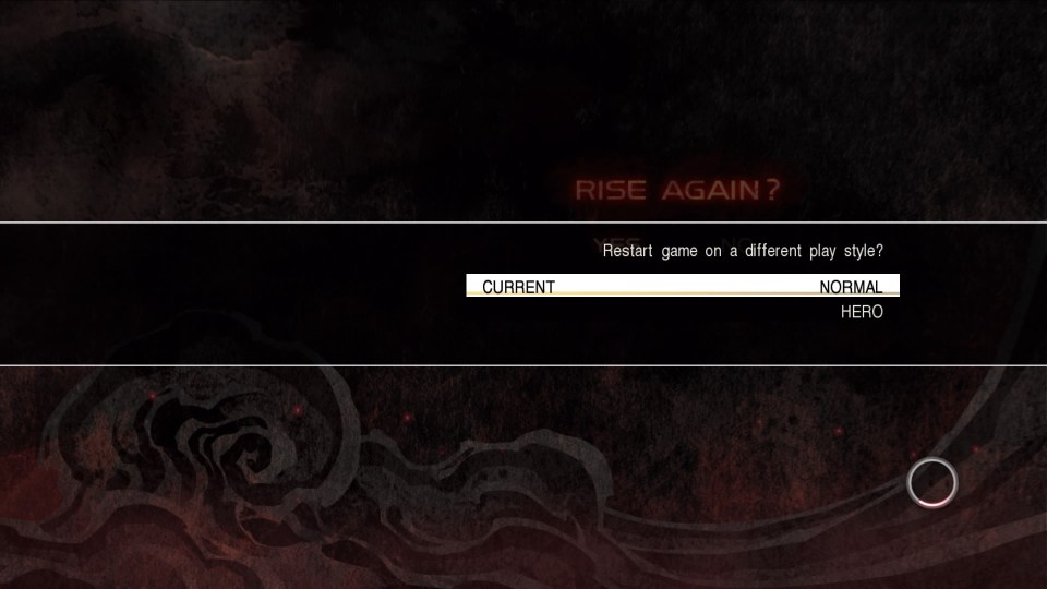 The game asks the player to rise again on a different play style.