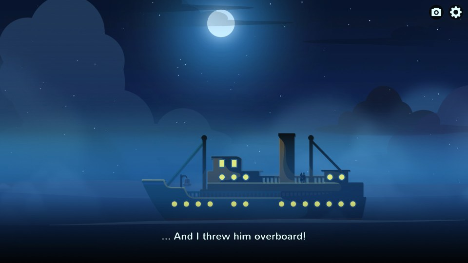"""A 2D luxury oceanliner   TEXT : """"... And I threw him overboard!"""""""