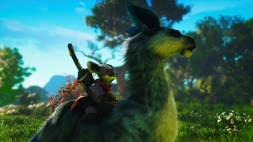 A Biomutant chracter riding a furry horse-like creature through a forest.
