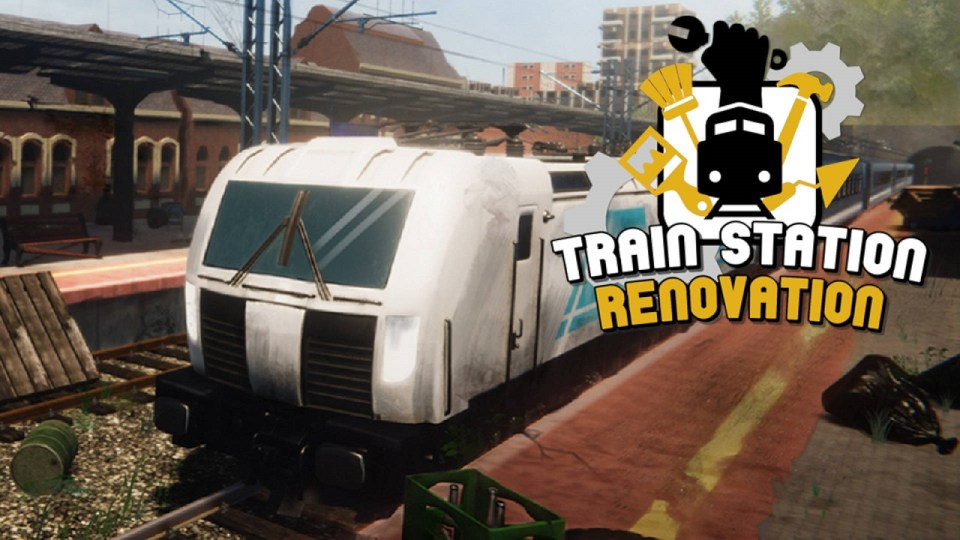 A stationary train in a dilapidated platform with the logo 'Train Station Renovation'.
