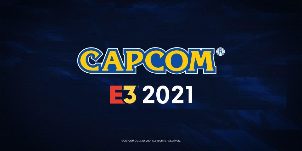 Capcom's promotional image, with the Capcom logo and E3 2021 on a dark blue background.